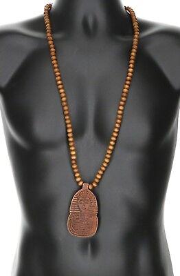 - Large Wooden Pharaoh King Tu Pendant Hip Hop Bead Necklace 3-1/16