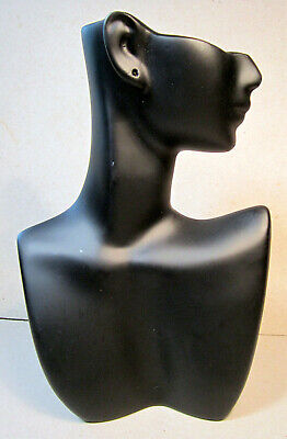 Jewelry Shop Display Black Face Side View Head Bust Stand Earring Necklace Scarf