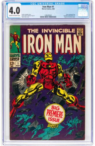 Iron Man #1 CGC 4.0 Marvel 1968 Origin! Avengers! Key Silver! K2 121 cm clean