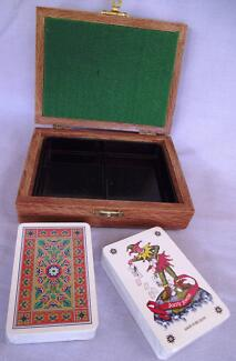 PLAYING CARDS IN CAMPHOR LAUREL / SILKY OAK BOX (2 DECKS) Middle Ridge Toowoomba City Preview