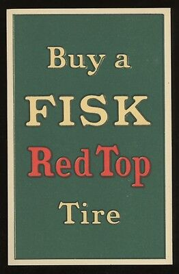 1910s  FISK TIRE  Vintage Advertising Post Card ~ RED TOP