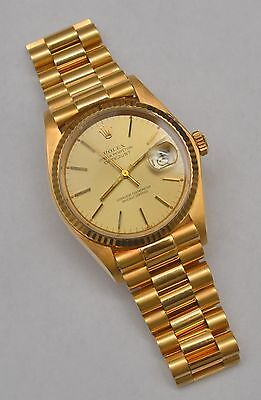 Mens Rolex Solid 18K Yellow Gold Datejust Champagne Dial & President Style Band