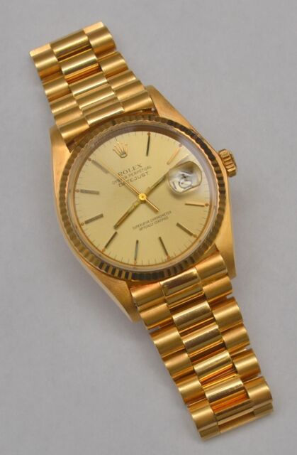 rolex datejust 16018 wrist watch for men mens rolex solid 18k yellow gold datejust champagne dial president style band