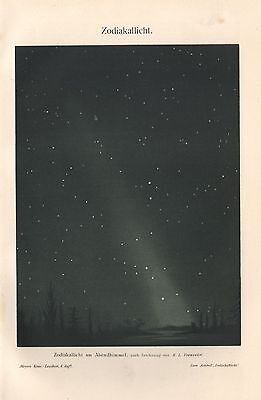 Zodiakallicht am Abendhimmel Zodiacal Light Himmelskunde  Lithographie 1909