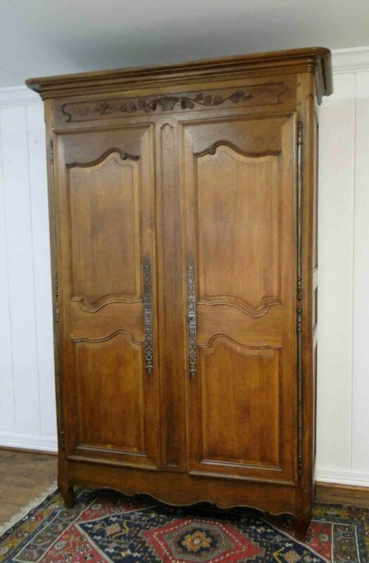Antique French  Wardrobe Armoire Country French Recessed Panels Carving Shelves