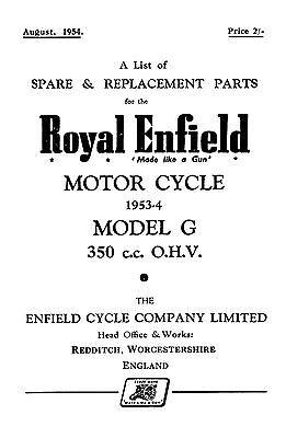 1953-1954 Royal Enfield model G 350cc parts book