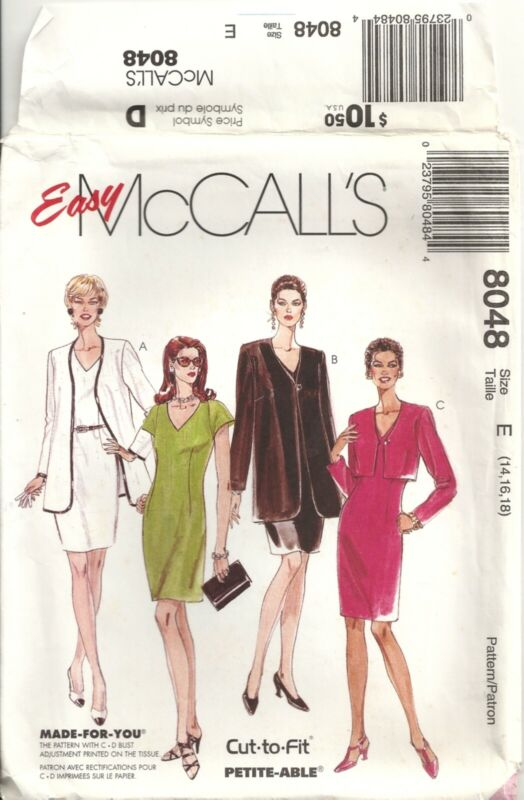 MCCALLS 8048 MISSES SIZE 14-18 DRESS & JACKETS IN TWO LENGTHS SEWING PATTERN VTG