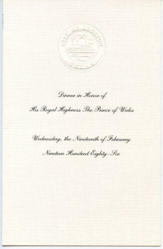 HRH PRINCE CHARLES of the U. K. - Dinner Invitation / Program - 19 February 1986