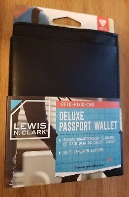 Lewis N Clark DELUXE LEATHER PASSPORT WALLET - RFID Blocking - Protect Info -NEW