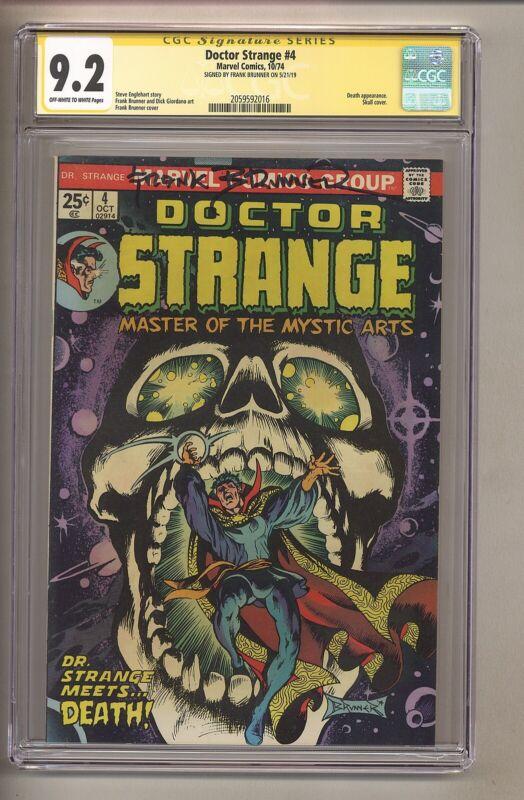 Doctor Strange #4 (CGC 9.2) OW/W pgs; SIGNED by Brunner; Marvel; 1974 (c#27677)