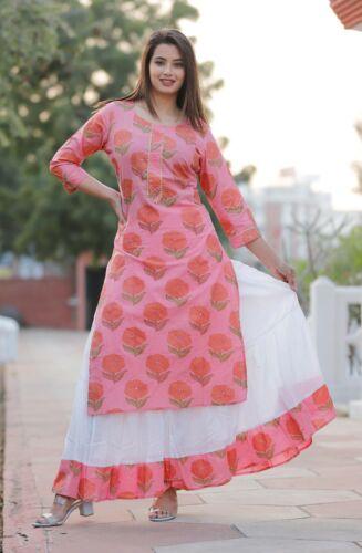 India  Pakistani Kurta Kurti Palazzo Set Straight Printed Casual Top Tunic