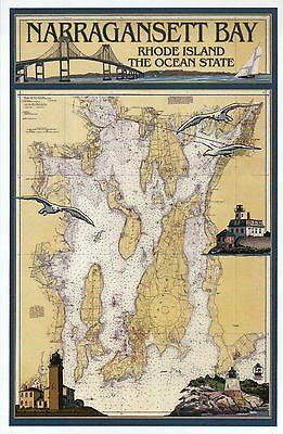 Narragansett Bay Rhode Island Nautical Chart Lighthouse etc, Modern Map Postcard