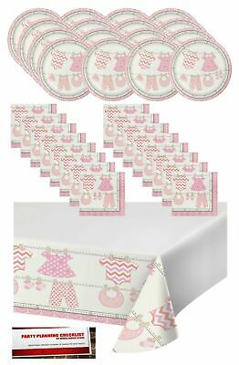 Girl Baby Shower Plates And Napkins (Pink Girl Baby Shower Party Supplies Bundle Pack for 16 - Plates, Napkins)