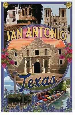 San Antonio Texas Montage, The Alamo Riverwalk Mission Flowers etc TX - Postcard