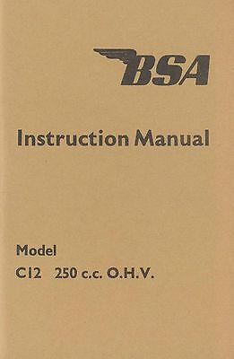 BSA Instruction Book Handbook Booklet C12 250