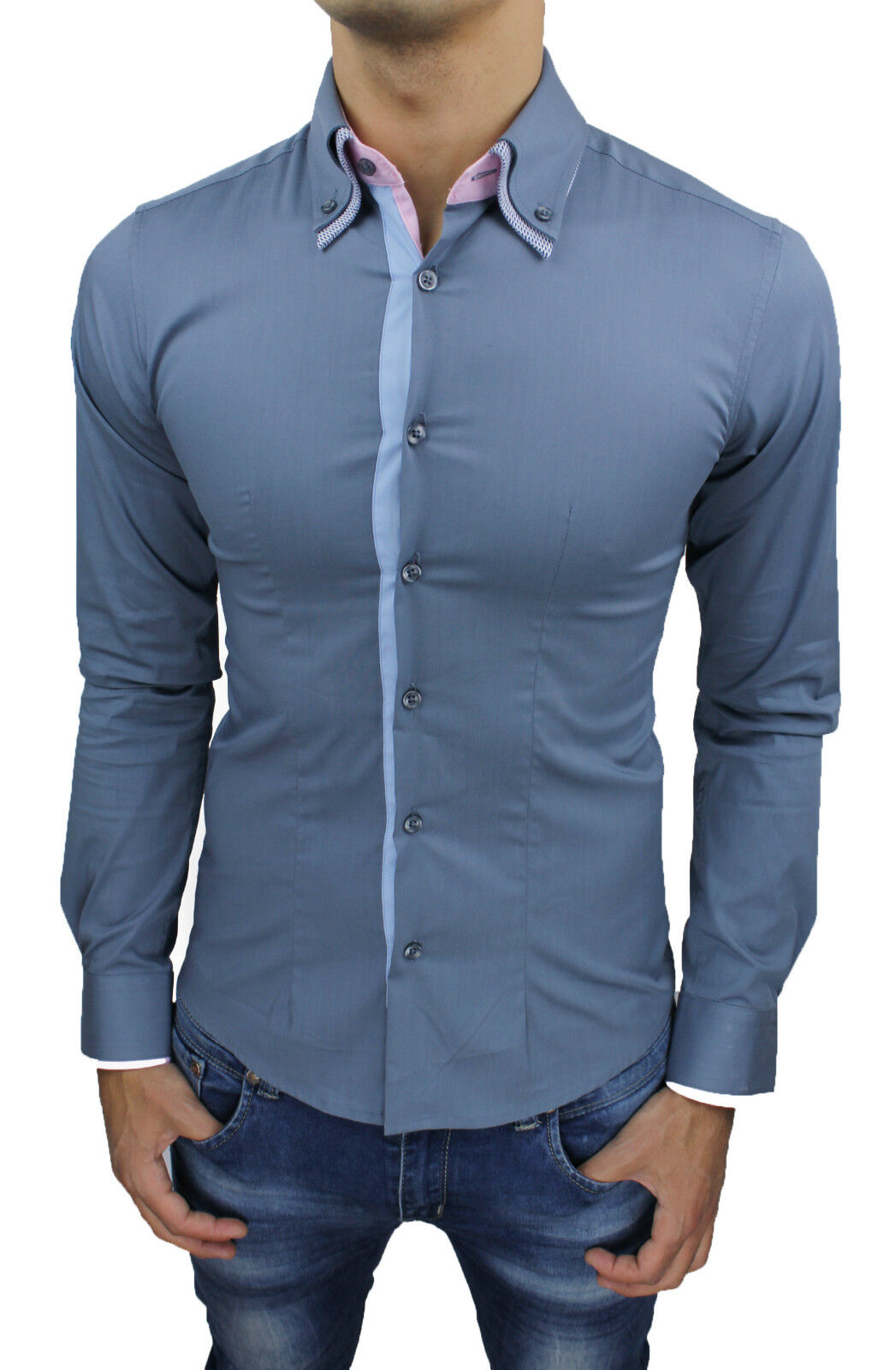 the best attitude eefd7 6b31b CAMICIA UOMO CASUAL GRIGIO BUTTON DOWN SLIM FIT ADERENTE ...