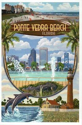 Ponte Vedra Beach Florida Montage, Jacksonville, Lighthouse etc. Modern Postcard