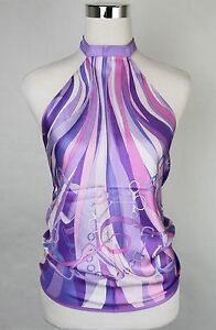 New Gucci Lilac Equestrian Horsebit Silk Scarf Halter Top Blouse 367214 5371
