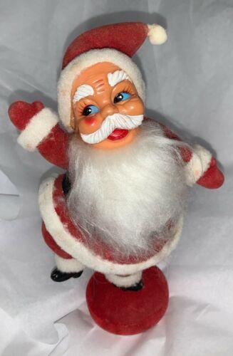 """Vintage Flocked and Angel Hair Beard Dancing Santa Claus - Hong Kong - 9"""""""