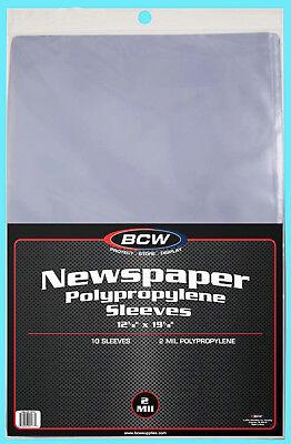 "10 BCW 12X19 NEWSPAPER 2 MIL STORAGE SLEEVES Clear Poly Art Photo Print 12""x19"""
