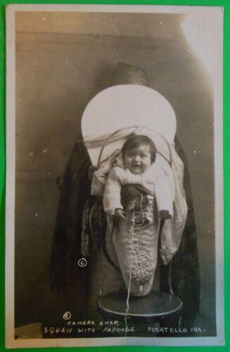 Squaw/Papoose-Pocatello, Idaho-Vintage Real Photo Postcard c. Camera Shop 1932