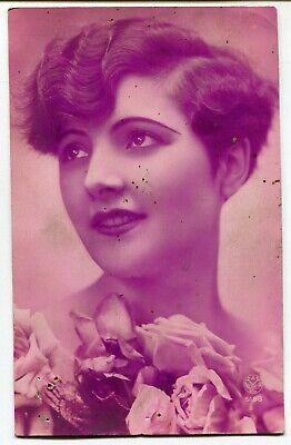 CPA - Carte Postale - Fantaisie - Carte Rose - Portrait de Femme (M7944)
