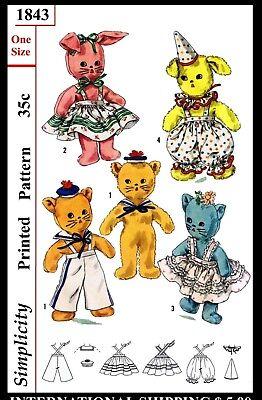"1843 Simplicity Stuffed Animal Toy Craft Fabric Sewing Pattern Dog Cat Bunny 12"""