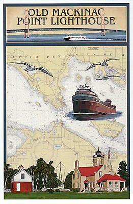 Mackinac Point Lighthouse - Old Mackinac Point Lighthouse Nautical Chart Michigan Bridge Modern Map Postcard