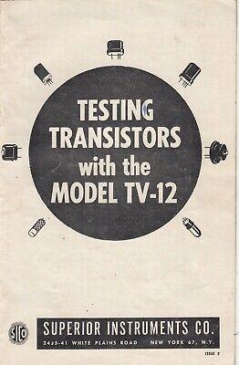 Vintage Superior Model Tv-12 Tube Transistor Tester - 8 Page Booklet