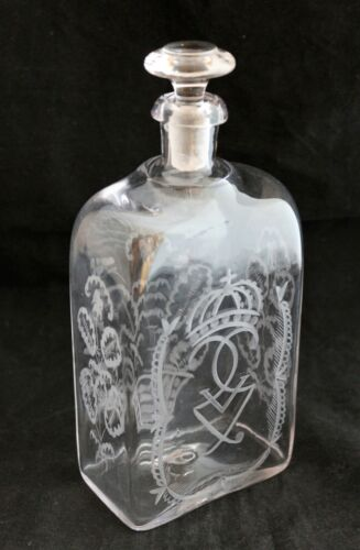 VINTAGE BOTTLE DECANTER ENGRAVED ROYAL MONOGRAM KING GUSTAF V OF SWEDEN