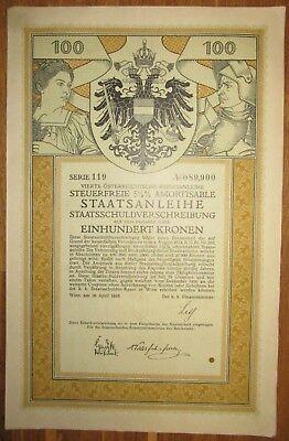 ÖSTERREICH AUSTRIA 4. Kriegsanleihe 100 Kronen 1916 Austrian War Loan