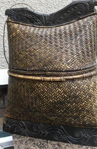 Vintage large Indonesian tribal basket/ man