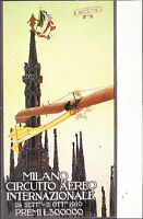 Cartolina Illustrata - Milano, Circuito Aereo Internazionale - 1910 Aldo Mazza - inter - ebay.it
