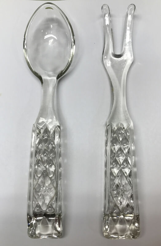 Crystal Clear Glass Salad - Buffet Serving Set - 10 Inch Fork and Spoon