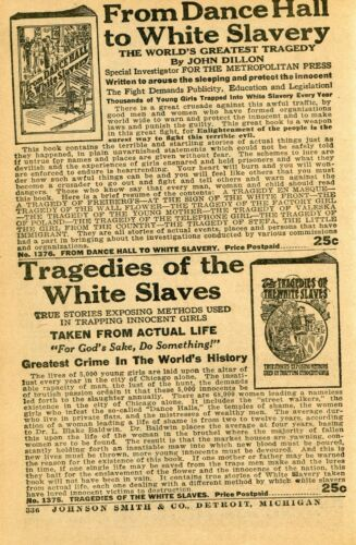 1938 Print Ad of From Dance Hall to White Slavery, Tragedies of the White Slaves