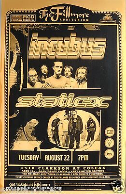 "INCUBUS / STATIC-X 2001 ""MORNING VIEW TOUR"" DENVER FILLMORE CONCERT POSTER"