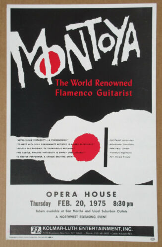 Carlos MONTOYA Opera House SEATTLE 1975 Flamenco GUITAR Cardboard CONCERT POSTER