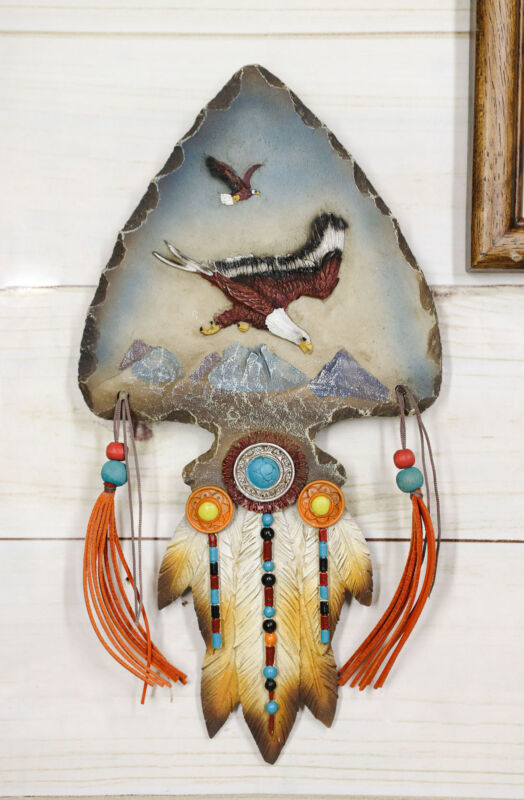 Eagle Soaring Over Mountains Dreamcatcher Beaded Lace Feather Headdress Plaque