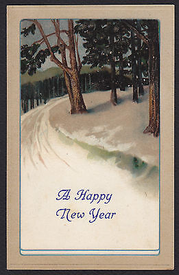 New Year-Arts & Crafts-Trees-Snow-KNG-Antique Postcard - New Year Crafts
