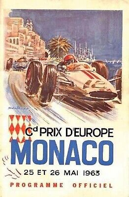discount wall decals 1963 Cd Prix D'Europe Monaco F1 motor racing poster