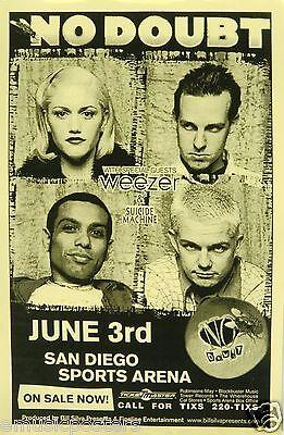 NO DOUBT & WEEZER 1996 SAN DIEGO CONCERT TOUR POSTER - GWEN STEAFANI