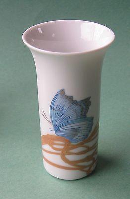 ROSENTHAL LE FOLL Blue PIGEON BUTTERFLY Porcelain Modern Art Design ARUND VASE