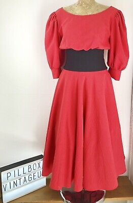 Original Iconic Zandra Rhodes Fifth Avenue Red Vintage 80s Dress Size 12 for sale  Shipping to Ireland