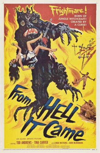 From Hell It Came Movie POSTER (1957) Horror