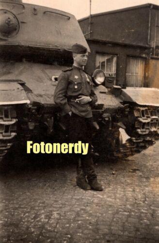 WWII Era Soviet Russian Photo RKKA Soldier Smoking By Heavy IS Tank a14
