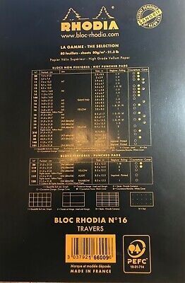 Rhodia Staplebound - Notepad - Black - Lined With Margin -6 X 8.25 - R166009 New