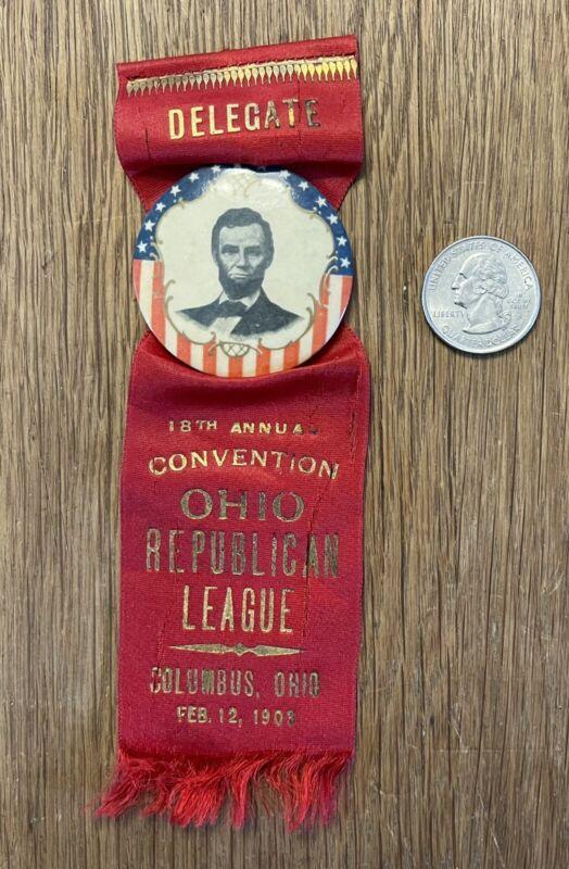Antique 1903 Ohio Republican League Lincoln Convention Ribbon Button