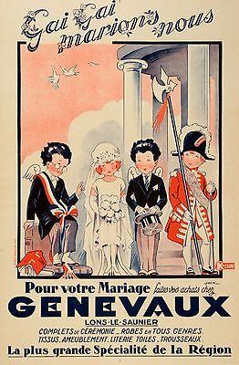 Original Vintage Fashion Poster Genevaux by Jack c1930 Wedding Store French