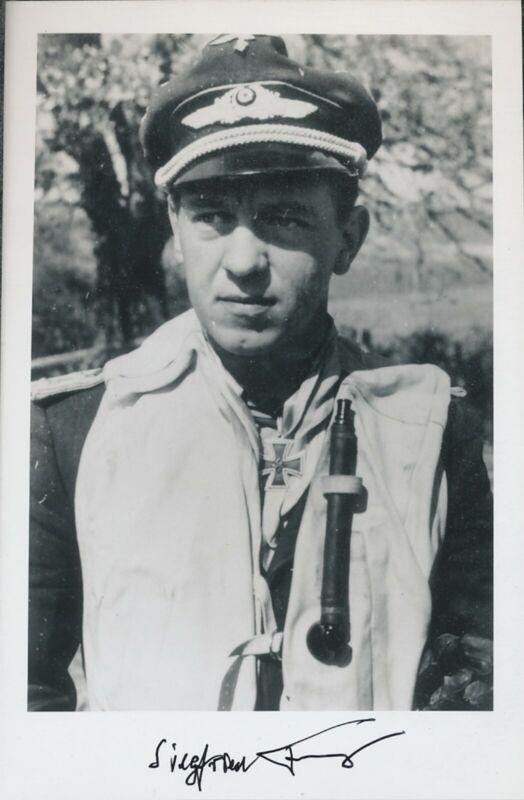 Siegfried Freytag postwar signed photo. Luftwaffe Ace. 102 kills !! Scarce!!