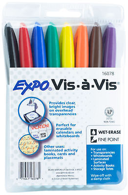 Expo Wet Erase Markers Overhead Projection Vis 8 Color